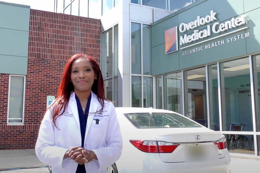 Dr. Pamela Love in front of Overlook Pediatric Emergency Department